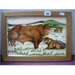 A Moorcroft Limousin Bulls Plaque, shape PLQ2, trial, 19.5 x 30cm.