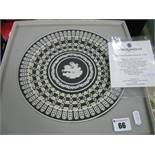 Three Wedgwood Black Fine Jasperware Tri Colour 'Trophy Plates', (boxed with certificates). (3)