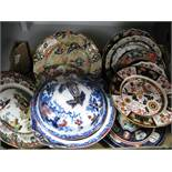 Ironstone Tureen and Cover, Ashworth and Mason's table plates:- One Box