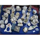 Carlton Crested China Monkey and many others, Miniature cup and saucer, Spode trinket box, etc:- One