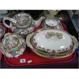 An Early XIX Century Mason's Teapot and Sucrier, together with teacup and saucers; a tureen and
