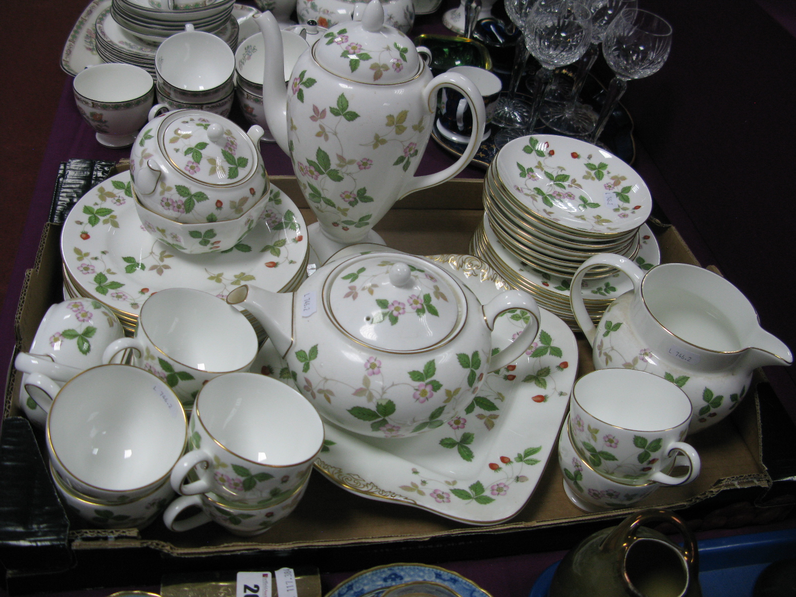 Lot 25 - Wedgwood 'Wild Strawberry' Eight Place Tea and Coffee Wares, (approximately thirty-eight pieces).