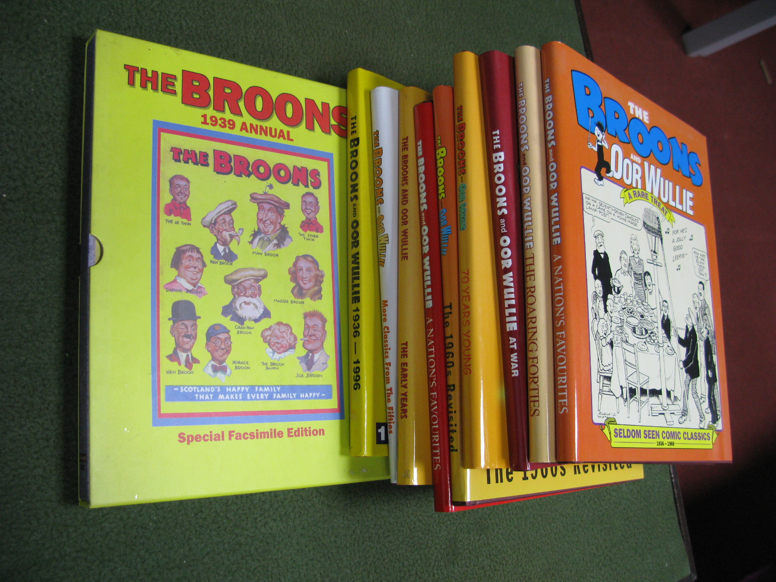 Ten Facsimile Annuals Relating to 'The Broons' and 'OOR Wullie', including 1939 1st edition.