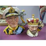 Royal Doulton Character Jug Earl Mountbatten of Burma, D 6944, and a smaller one King Edward VII,
