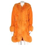 A Christian Dior dyed-orange mink and fox fur coat, 1970s, narrow woven label, lined in orange silk,
