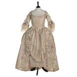 A striped chine taffeta robe à la polonaise, 1770s,