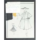Three pencil sketches from Piguet's last summer collection, 1951, comprising: 'Illusion',
