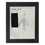 Four Robert Piguet pencil fashion sketches, 1950-51, two showing 'Atout Coeur', Hiver,