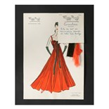 Two Maggy Rouff sketches of evening gowns, mid-late 1950s, the first 'Cornaline',