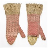 A rare pair of ladies' knitted silk and metal thread mittens, probably Italian,