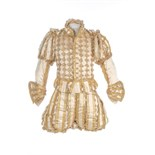 A rare ivory satin doublet and hose worn to the coronation of King George IV, 19th July, 1821,