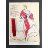 Two Maggy Rouff sketches of evening dresses, circa 1955, on calque paper, the first 'Rubis',