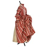 A fine striped robe à la polonaise, French, 1770s, of cinnamon and ivory satin stripes,