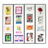 A collection of framed and mounted Yves Saint Laurent 'Love' cards, 1970-1999,