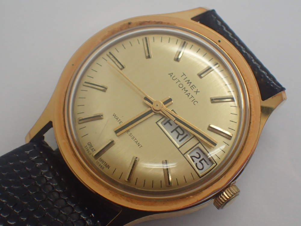 Vintage Timex automatic day and date gold plated wristwatch