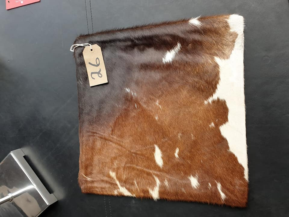 Lot 26 - Cushion Cowhide Leather Cushion Cover 100% Natural Hide Handmade Cover (Style PR435 x1) 35cm RRP £