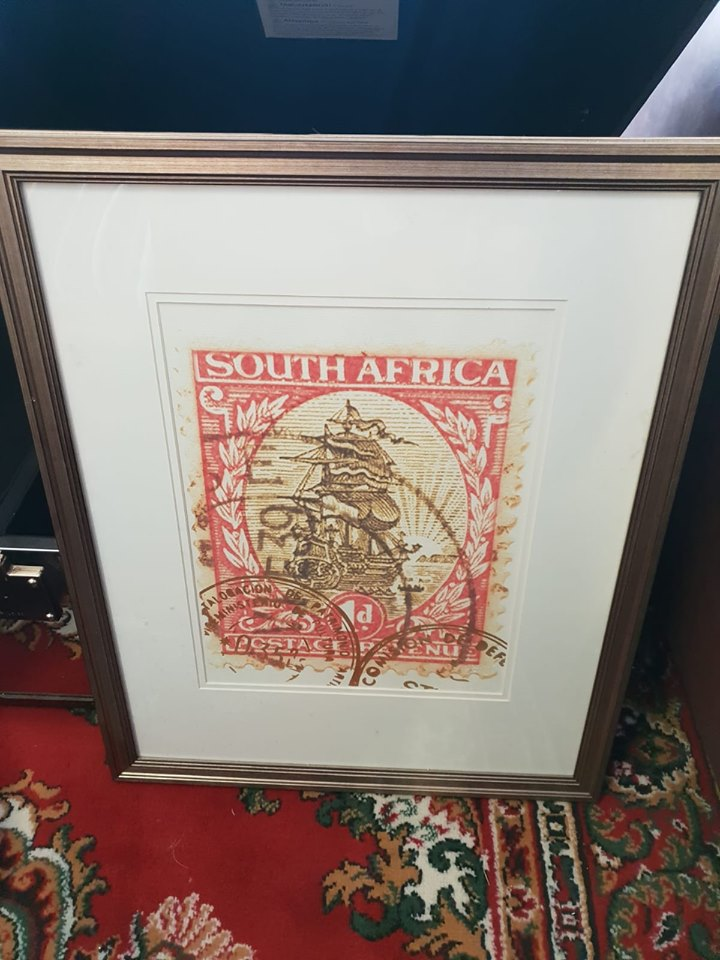 Lot 10 - Artwork Framed Graphic Art Print -The Enlarged Print Of An Antique Postage Stamp From South Africa