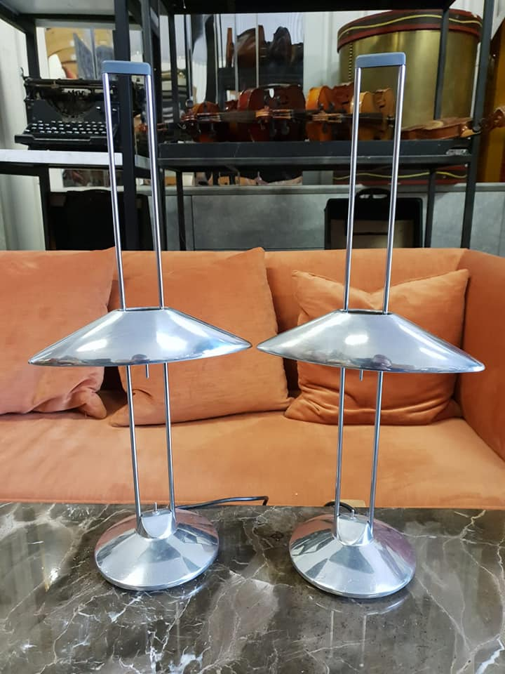 Lot 60 - A pair of Regina Mesa Halogen table lamps designed by Jorge Pensi for B-lux made of chromed steel,
