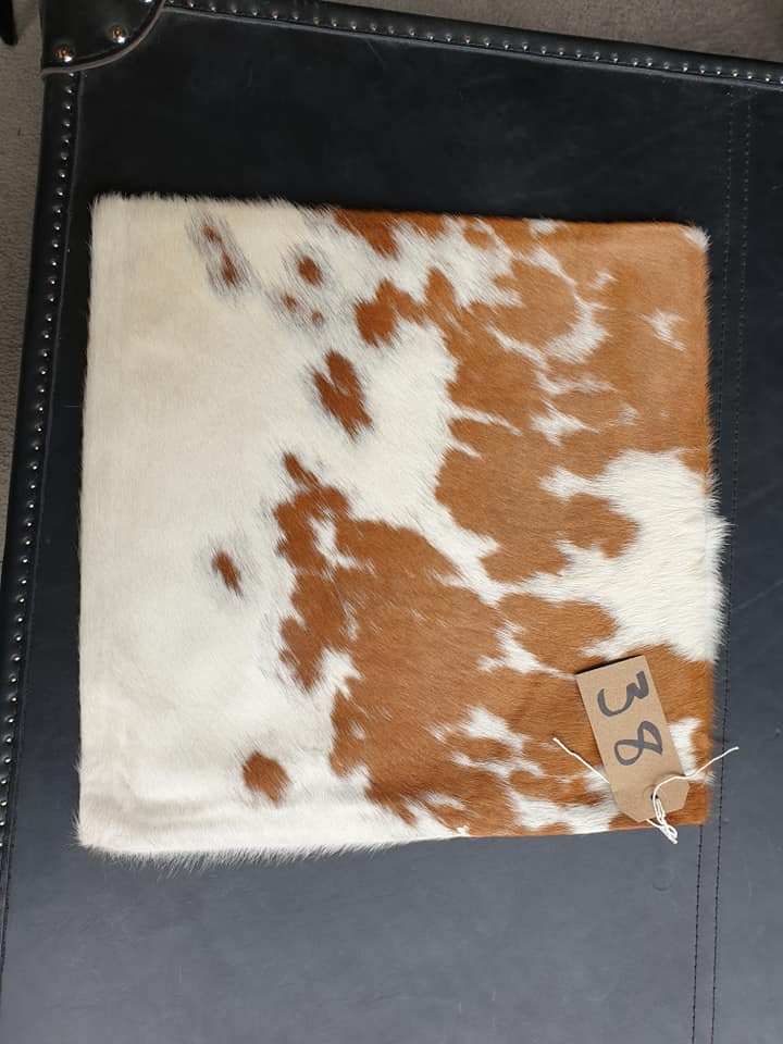 Lot 38 - Cushion Cowhide Leather Cushion Cover 100% Natural Hide Handmade Cover (Style PR435 x1) 35cm RRP £