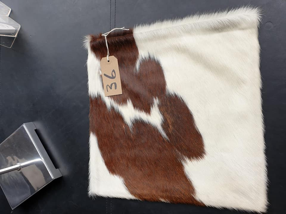 Lot 36 - Cushion Cowhide Leather Cushion Cover 100% Natural Hide Handmade Cover (Style PR435 x1) 35cm RRP £