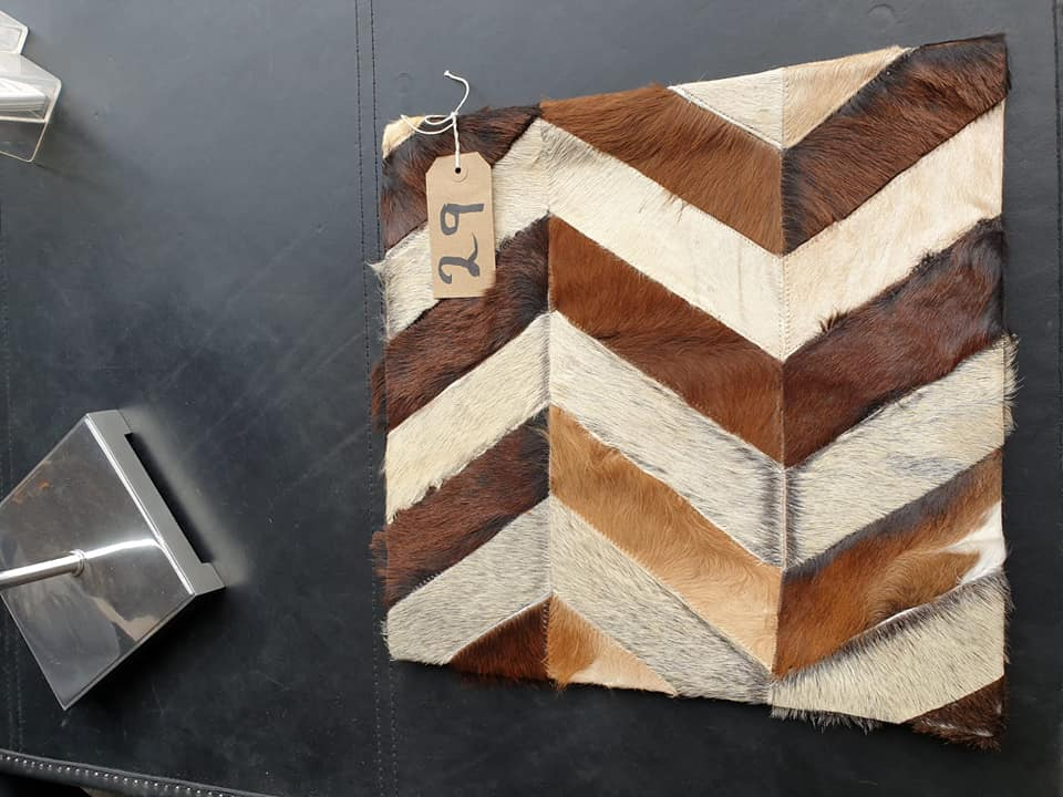 Lot 29 - Cushion Cowhide Leather Cushion Cover 100% Natural Hide Handmade Cover (Style PR435 x1) 35cm RRP £