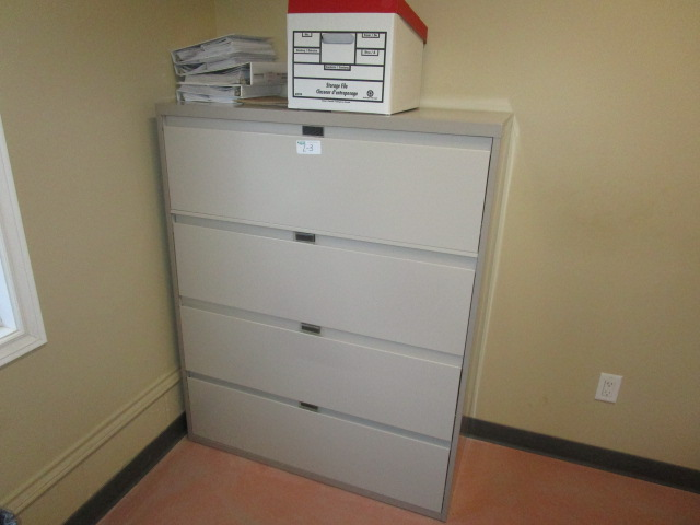 Lot 3 - Complete office inc. desk with overshelf, 3 chairs, 4 door filing cabinet