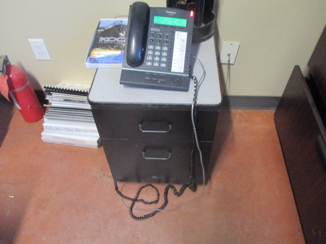 Lot 12 - Complete Office - Desk with End Cabinets with Overshelfs (6') - Brother MFC-J650 fax copy scan ,