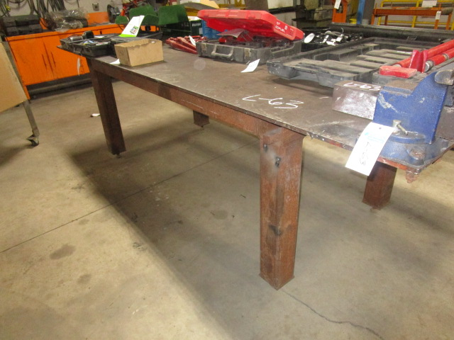 "Steel Table with 2 Vices 4' X 10' - 1/2"" plate 38"" High - Image 2 of 2"