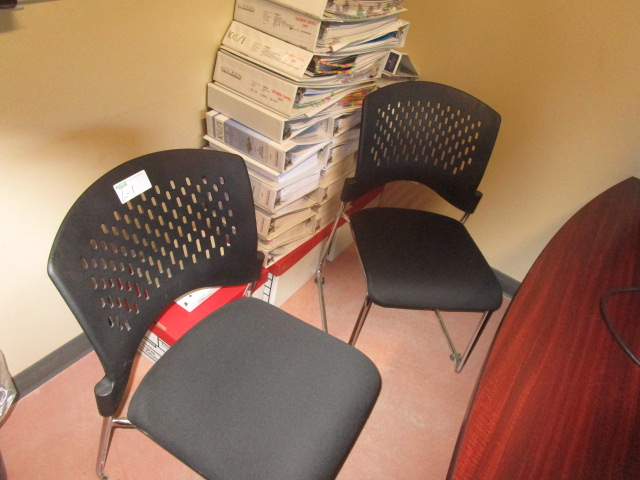 Lot 1 - Complete Office Contents - includes Desk with Overshelf, 3 Chairs, 4 Door lateral filing cabinets,