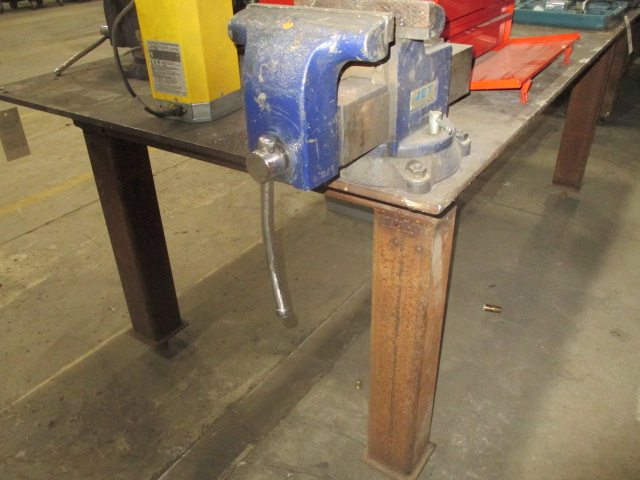 "Lot 215 - Steel Table with Vice - 1/2"" Plate 99"" X 48"""