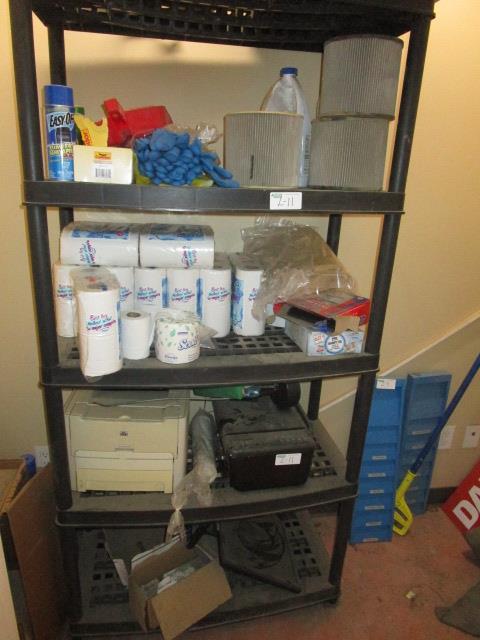 Lot 11 - Complete Closet - Plastic Shelf, all contents and floor