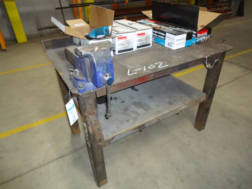 """Lot 102 - Steel Work Table 1/4"""" Plate with vice 30""""w X 48""""l X 33"""" high"""
