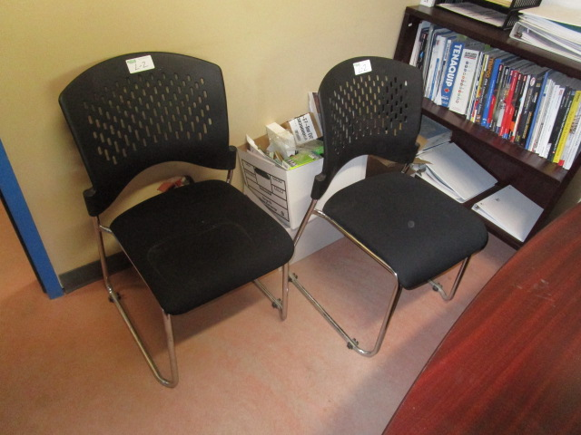 Lot 2 - Complete Office inc. desk with overshelf, 3 chairs, 3 dr filing cabinet, Bookshelf,