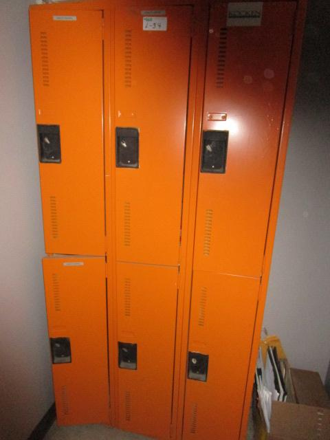 Lot 34 - Bank of 6 1/2 Size Lockers and Haier A/C Unit