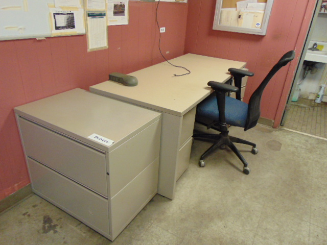 Lot 2611 - LOT CONSISTING OF: (2) desks, (3) file cabinets, assorted, freezer & (3) chairs