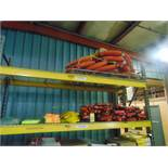 LOT CONSISTING OF: life vests, throwable ring buoys, rain gear & safety vests (on two shelves)