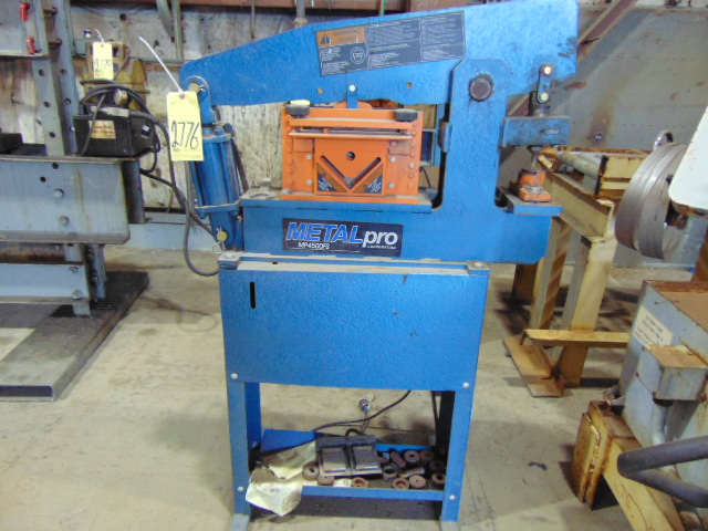 "Lot 2776 - HYDRAULIC IRONWORKER, METAL PRO MDL. 4500FS, 4"" x 4"" x ¼"" angle shear, ¼"" x 8"" bar shear, ¾"" rod"