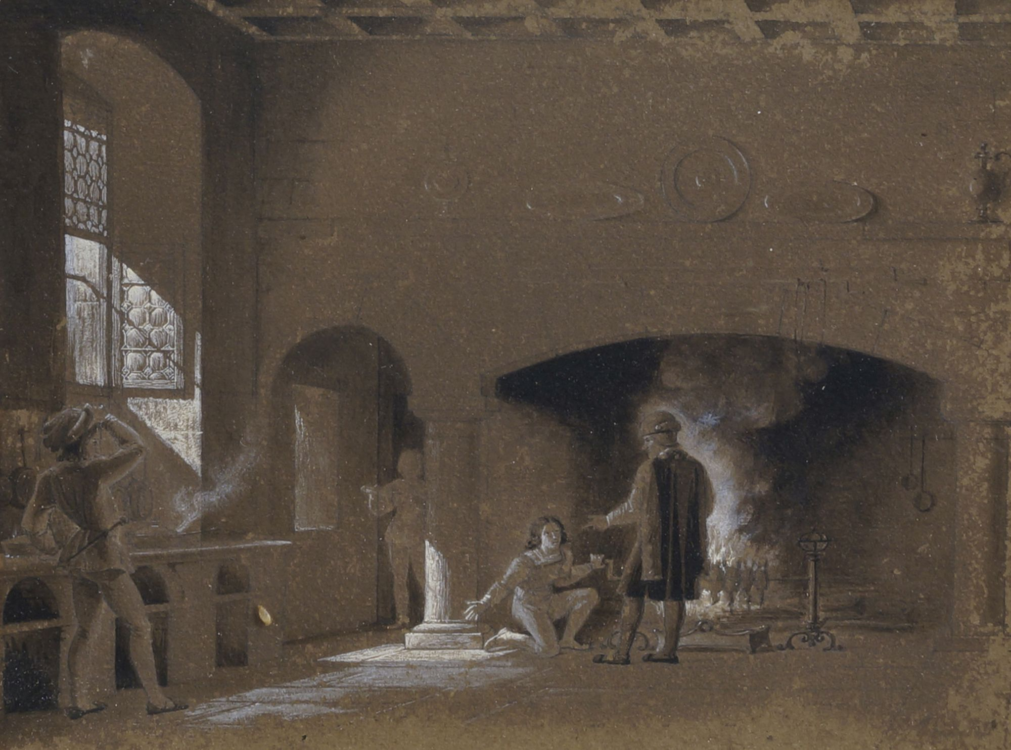 Lot 134 - Fleury François Richard, French 1777-1852- Louis XI dans ses cuisines, 1823; pencil and brush and