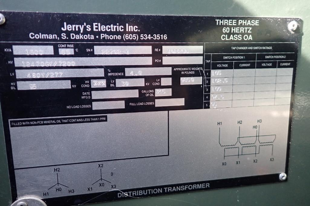Lot 33 - Jerry's Electric 1500KVA transformer - (Located in Fayetteville, AR)