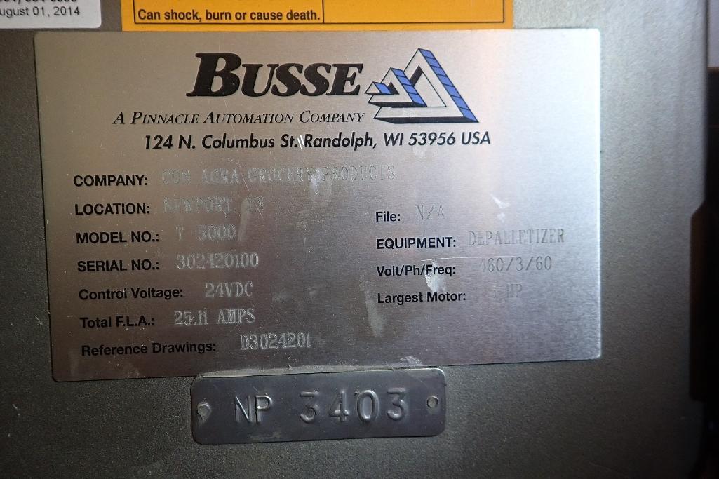 Lot 102 - Busse depalletizer - (Located in Newport, TN)