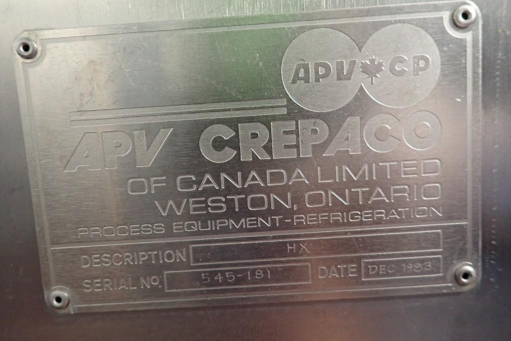 Lot 12 - APV Crepalo SS plate heat exchanger - (Located in Fayetteville, AR)