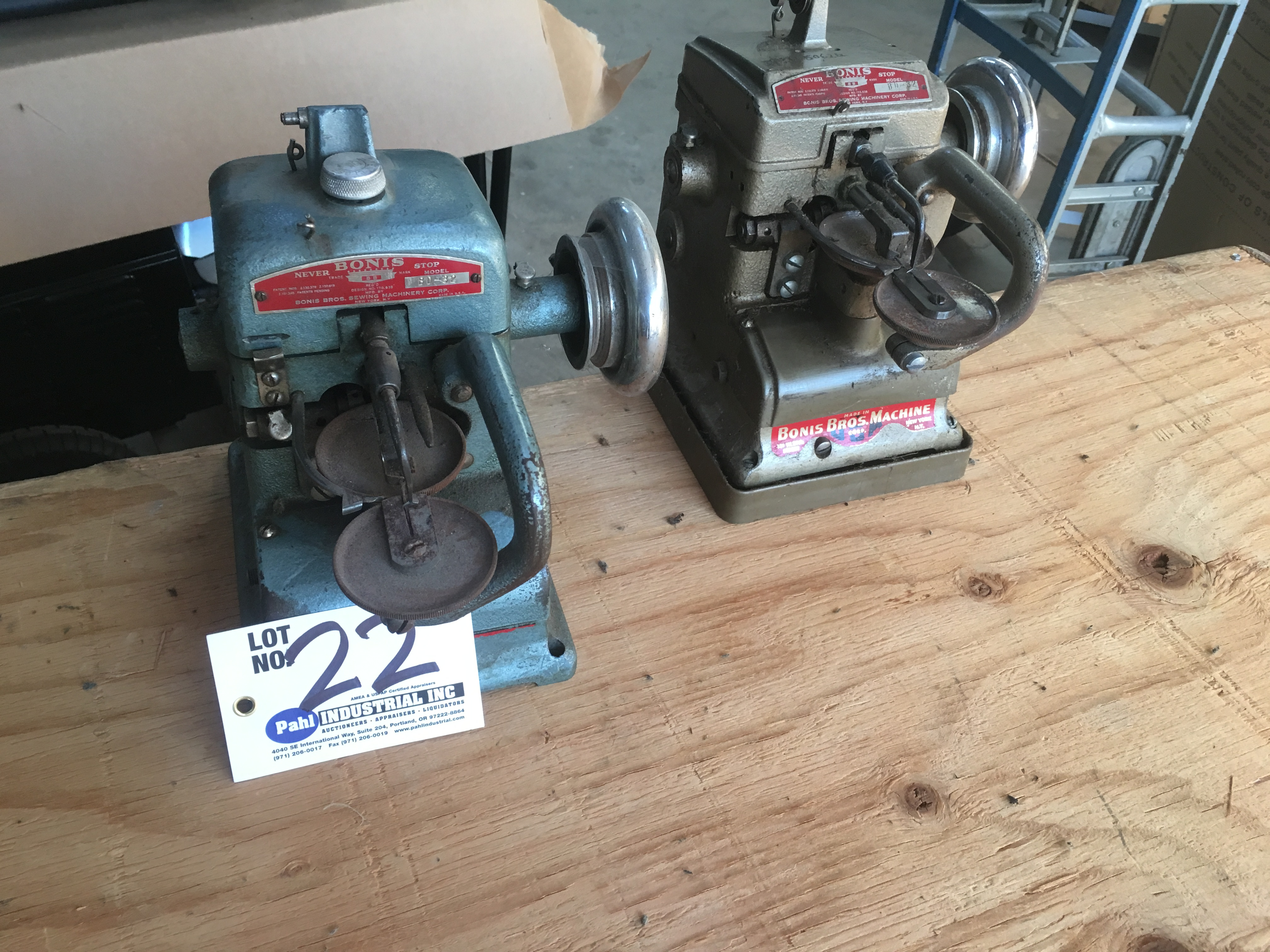 Lot 22 - (2) Bonis BD-32 Fur Sewing machines (not known if operational)