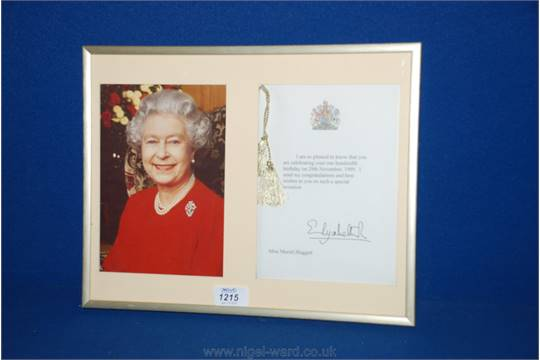 a framed letter from queen elizabeth ii to miss muriel huggett on her 100th birthday