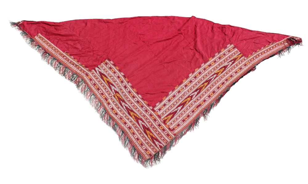 Property of a deceased estate - an Afghan red cotton shawl with flat-weave decoration (see