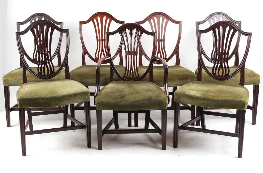 Lot 119 - Property of a lady - a set of six George III mahogany shield-back dining chairs; together with a