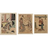 Three unframed Japanese woodblock prints including Three Bijin in Garden by Kitagawa Utamaro (1753-