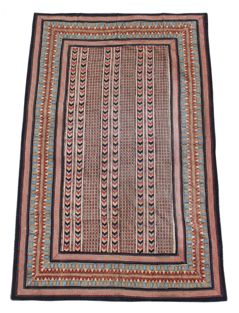 Property of a deceased estate - an Egyptian printed cotton throw, with decorative stitching, 85 by