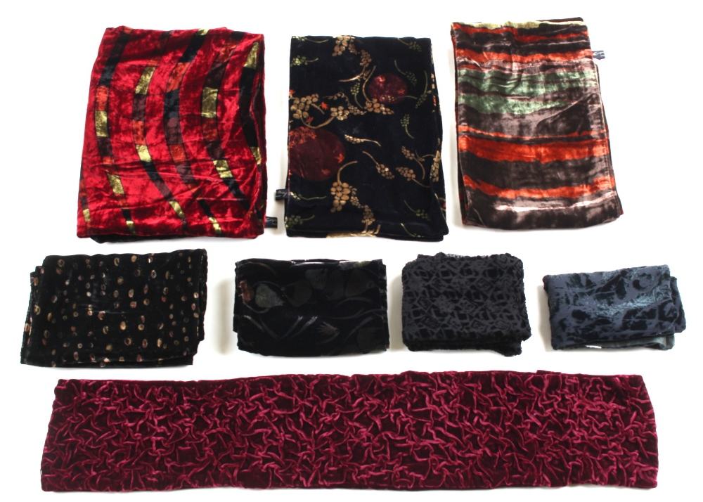 Property of a deceased estate - a large Georgina Von Etzdorf velvet scarf; together with two other