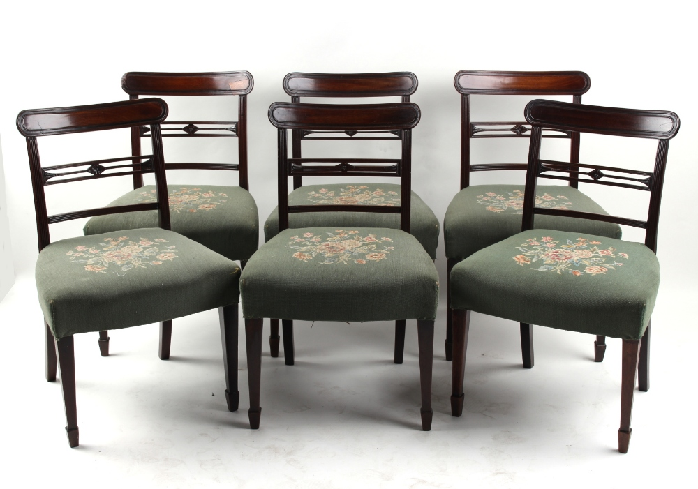 Property of a gentleman - a set of six early 19th century George IV mahogany bar-back dining chairs,
