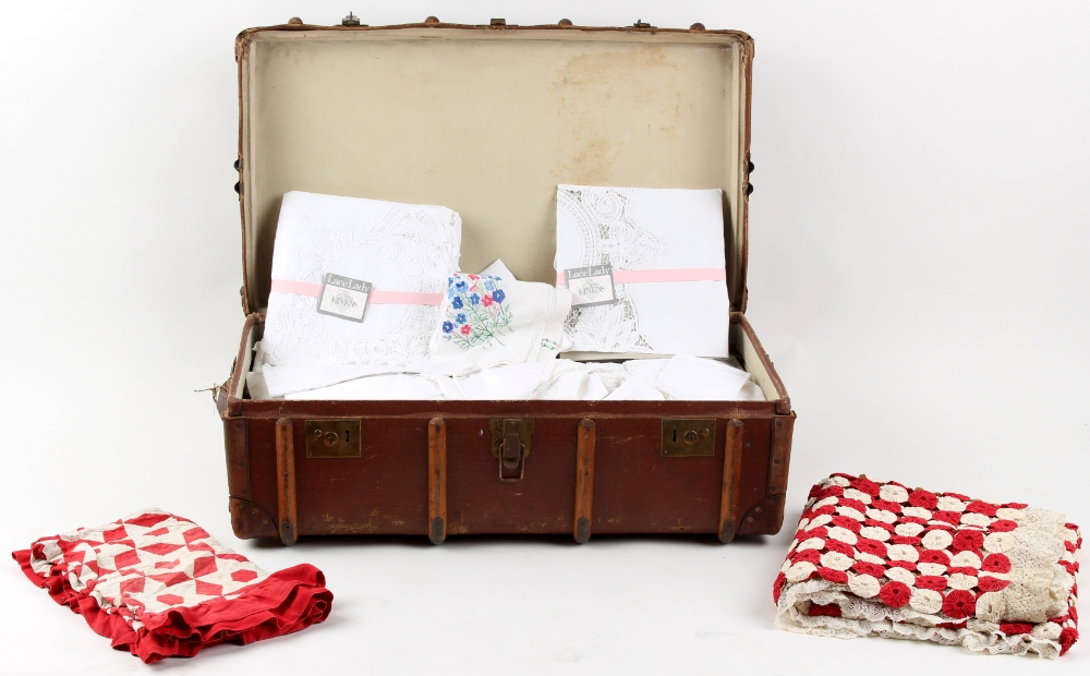 Property of a deceased estate - a cabin trunk containing assorted linen, mostly white cotton,